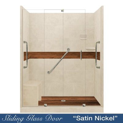 "Freedom Standard Burnt Oak Desert Sand 60"" Alcove Shower Kit"