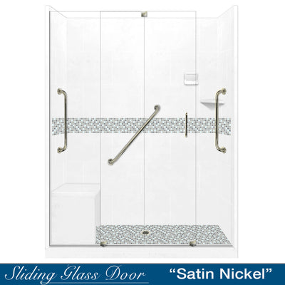 "Freedom Standard Del Mar Mosaic Natural Buff 60"" Alcove Shower Kit  testing shower - American Bath Factory"
