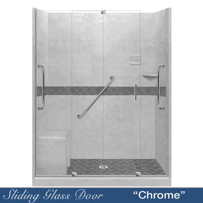 "Freedom Standard Diamond Portland Cement 60"" Alcove Shower Kit  testing shower - American Bath Factory"