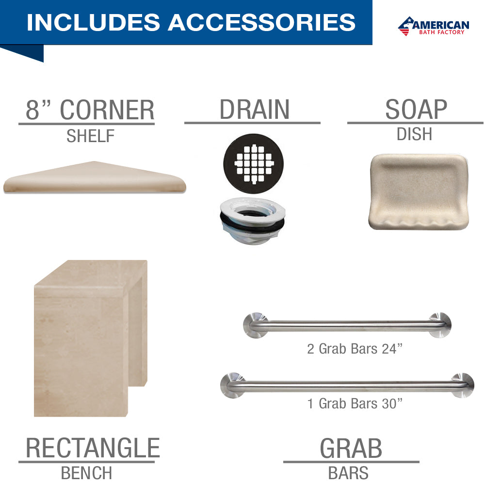 "Freedom Standard Tuscany Mosaic Desert Sand 60"" Alcove Shower Kit  testing shower - American Bath Factory"