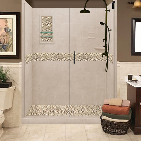 "Roma Mosaic Brown Sugar 60"" Alcove Shower Kit  testing shower - American Bath Factory"