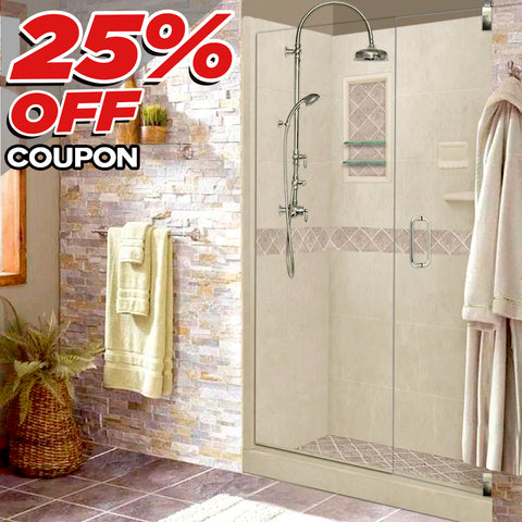 "Diamond Desert Sand 60"" Alcove Shower Kit: USE COUPON to take 25% off price below"