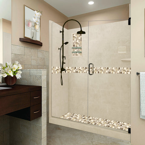 "Tuscany Mosaic Desert Sand 60"" Alcove Shower Kit  testing shower - American Bath Factory"