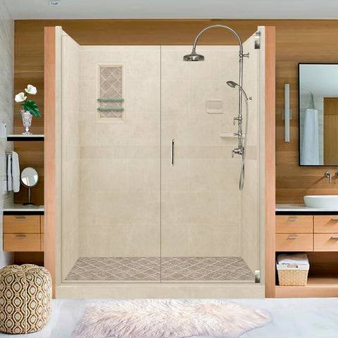 "Diamond Solid Desert Sand 60"" Alcove Shower Kit  testing shower - American Bath Factory"