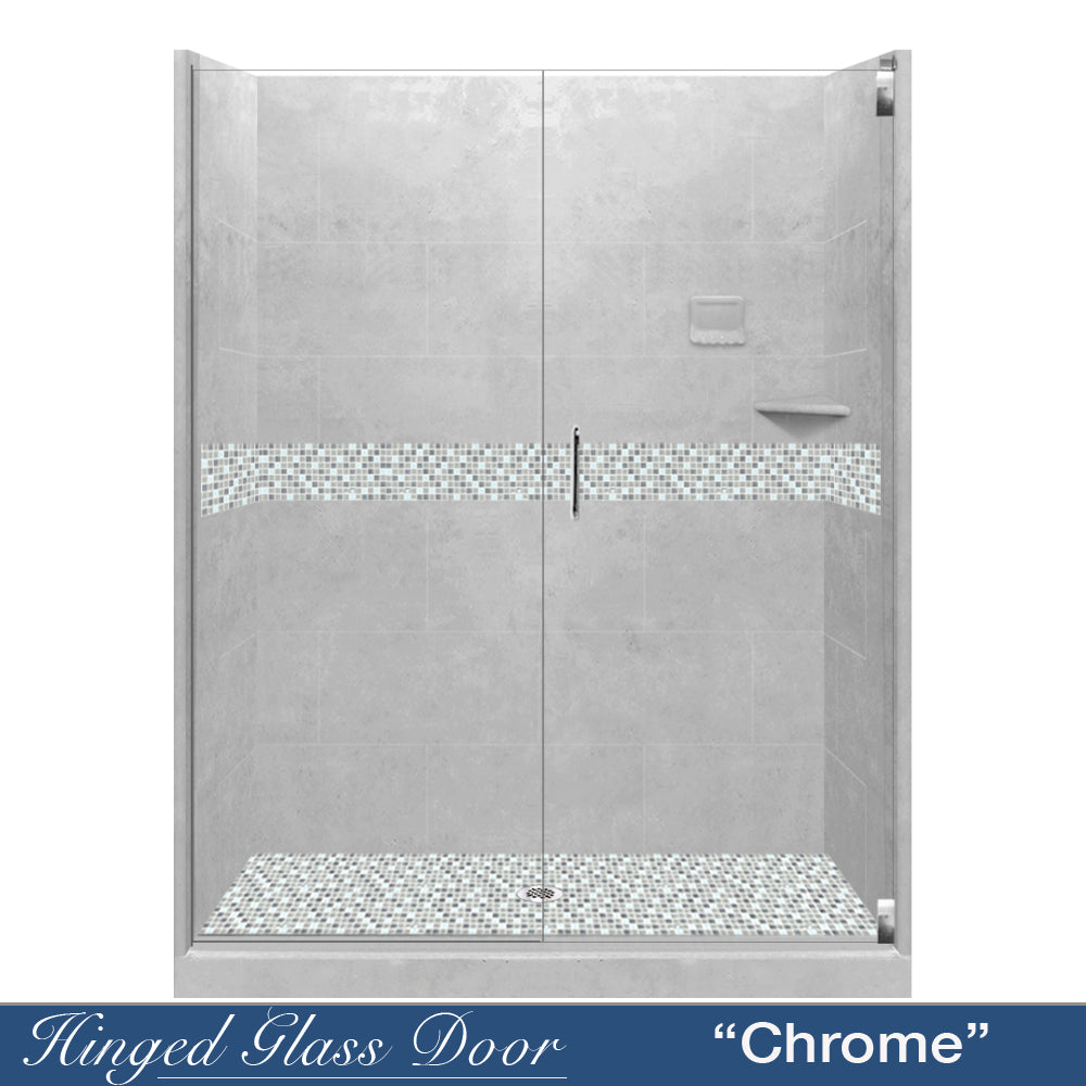 "Del Mar Portland Cement Buff 60"" Alcove Shower Kit  testing shower - American Bath Factory"