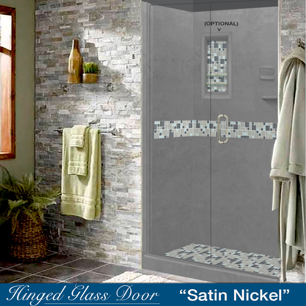 "Newport Mosaic Wet Cement 60"" Alcove Shower Kit"