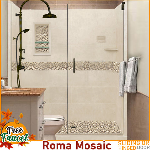 "10% OFF Earth Tones Mosaic Desert Sand 60"" Alcove Glass Shower Kit with FREE Faucet F600H"