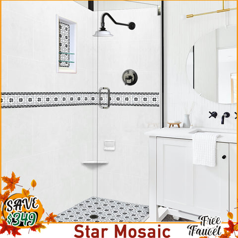 "Star Mosaic Natural Buff 60"" Alcove Shower Kit with FREE F92-PS Faucet"