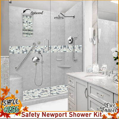 "Freedom Newport Portland Cement 60"" Alcove Shower Kit with FREE F92FF-CH Faucet"