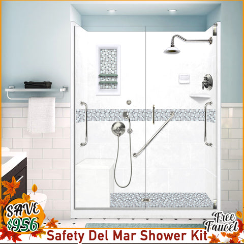 "Freedom Del Mar Mosaic Natural Buff 60"" Alcove Shower Kit with FREE F92FPS Faucet"