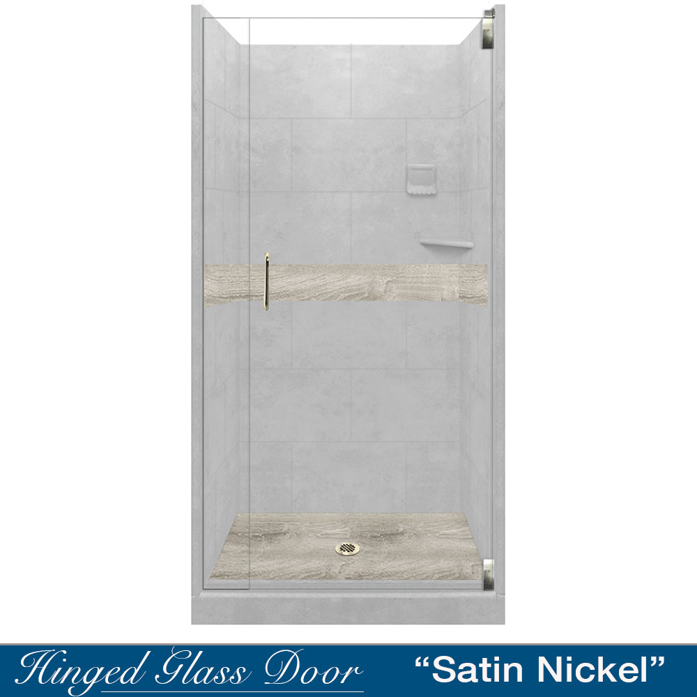 Portland Cement Sterling Oak Small Alcove Shower Kit
