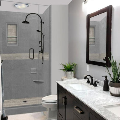 Wet Cement Sterling Oak Small Alcove Shower Kit