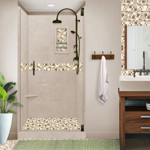 Tuscany Mosaic Brown Sugar Small Alcove Shower Kit