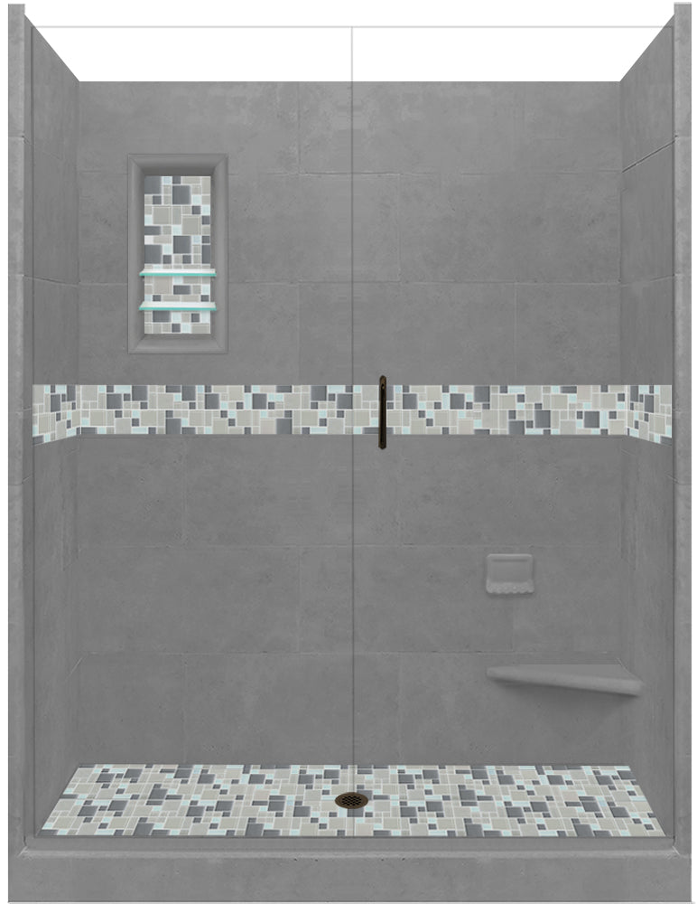 "Stone & Tile Shower Kit Newport 60"" x 30"" Grand Alcove With Glass Door  Google Ad Shower - American Bath Factory"