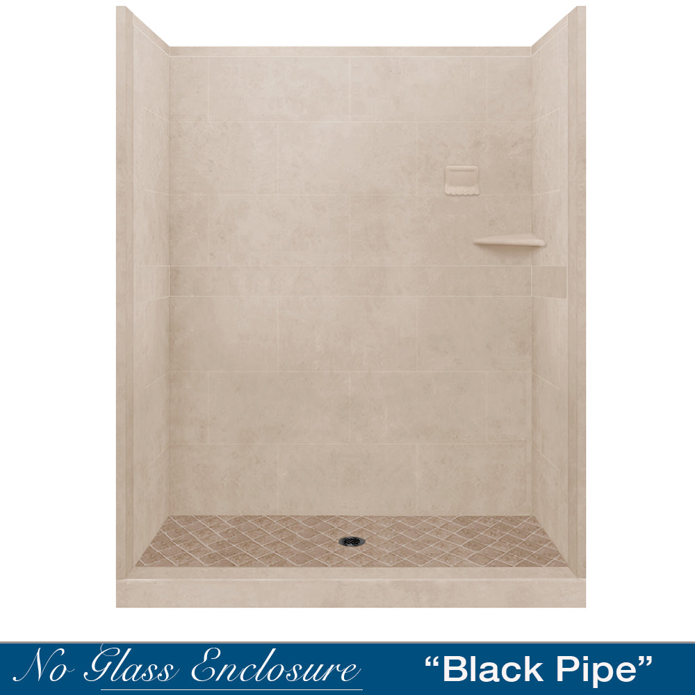 "Diamond Solid Brown Sugar 60"" Alcove Shower Kit  testing shower - American Bath Factory"