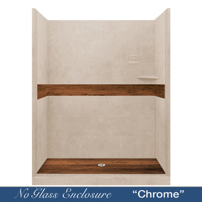 "Burnt Oak Brown Sugar  60"" Alcove Shower Kit"