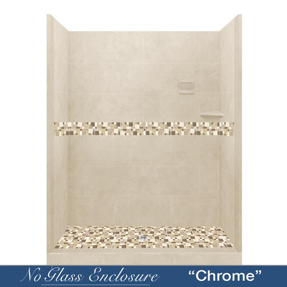 "10% OFF Fall Tones Mosaic Desert Sand 60"" Alcove Shower Kit with FREE Faucet F92SW"