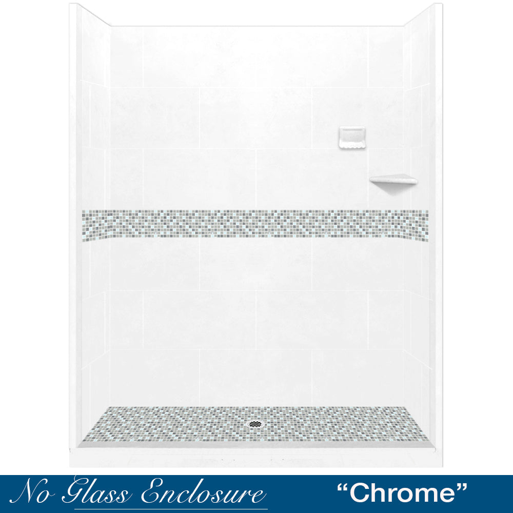 "Del Mar Mosaic Natural Buff 60"" Alcove Shower Kit"