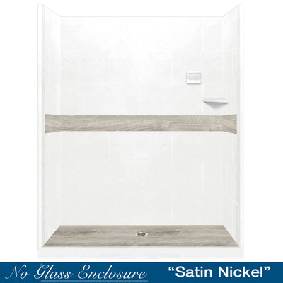 "Legacy Oak Natural Buff 60"" Alcove Shower Kit"