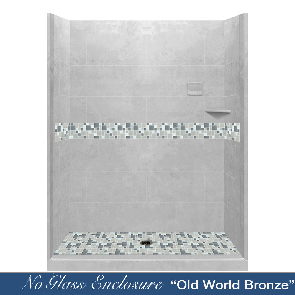 "Newport Mosaic Portland Cement 60"" Alcove Shower Kit  testing shower - American Bath Factory"