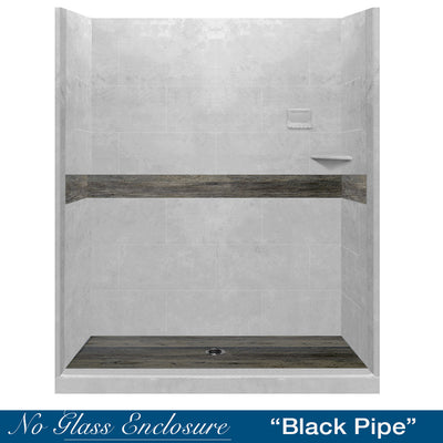 "Heirloom Oak Portland Cement  60"" Alcove Shower Kit"