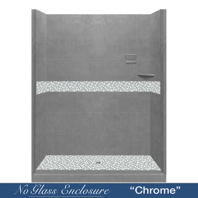 "Del Mar Wet Cement Buff 60"" Alcove Shower Kit  testing shower - American Bath Factory"