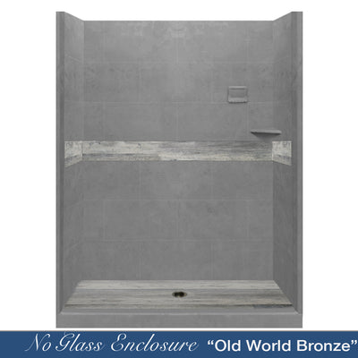 "Legacy Oak Wet Cement  60"" Alcove Shower Kit"