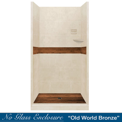 Desert Sand Burnt Oak Small Alcove Shower Kit
