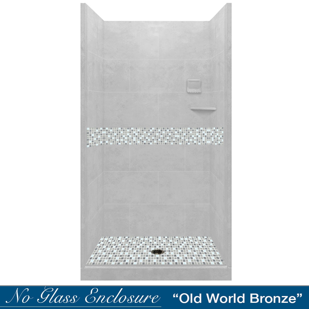 Del Mar Mosaic Portland Cement Small Alcove Shower Kit