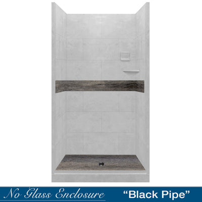 Portland Cement Seasoned Wood Small Alcove Shower Kit