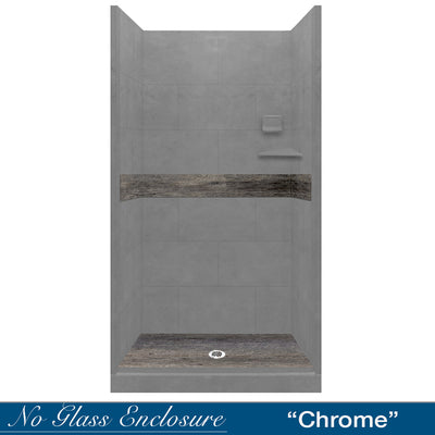 Wet Cement Seasoned Wood Small Alcove Shower Kit