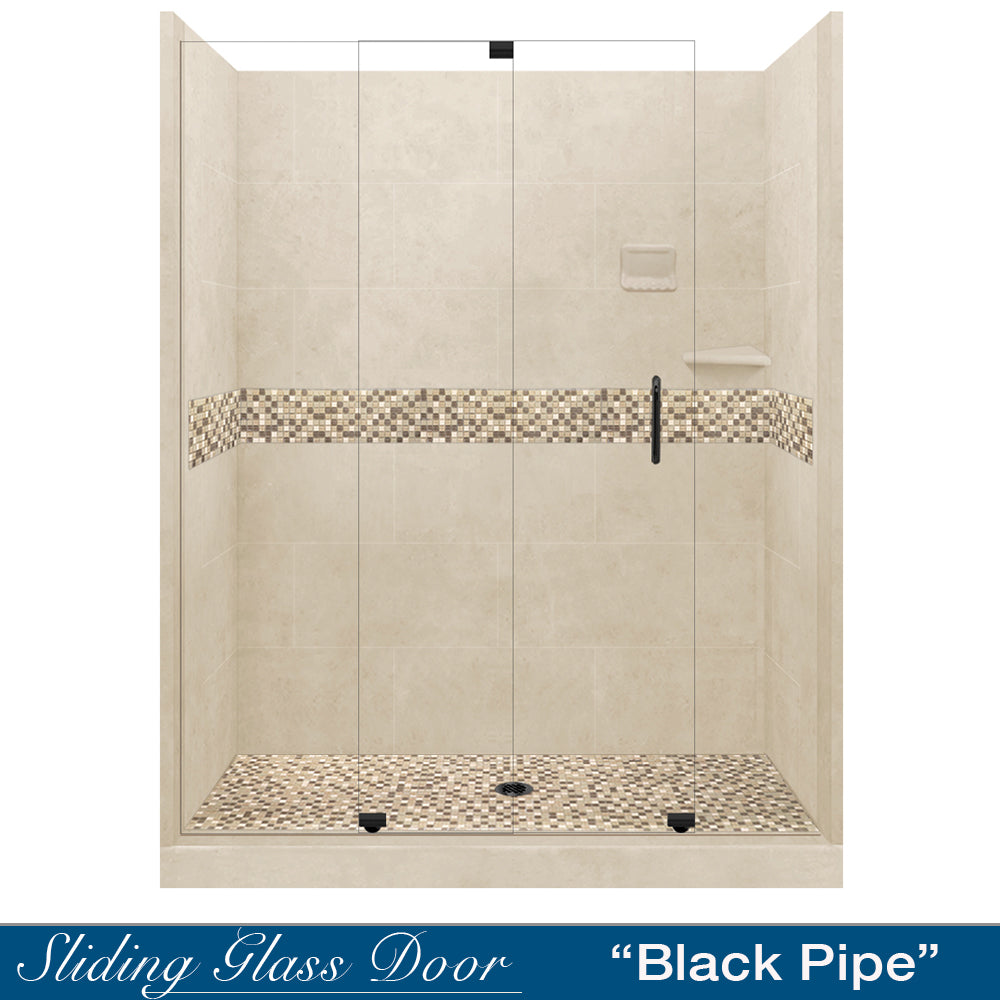"Roma Mosaic Desert Sand 60"" Alcove Shower Kit  testing shower - American Bath Factory"