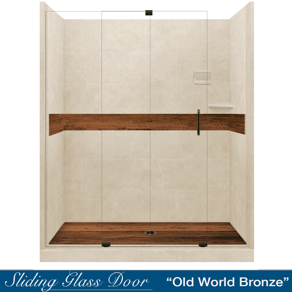 "Burnt Oak Desert Sand  60"" Alcove Shower Kit"