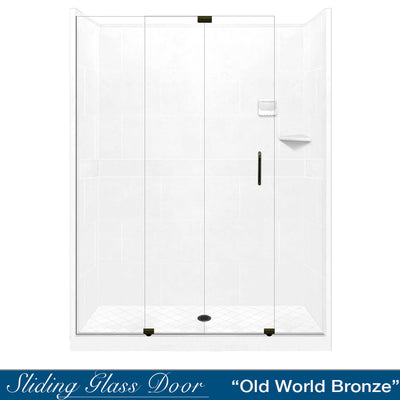 "Diamond Solid Natural Buff 60"" Alcove Shower Kit  testing shower - American Bath Factory"