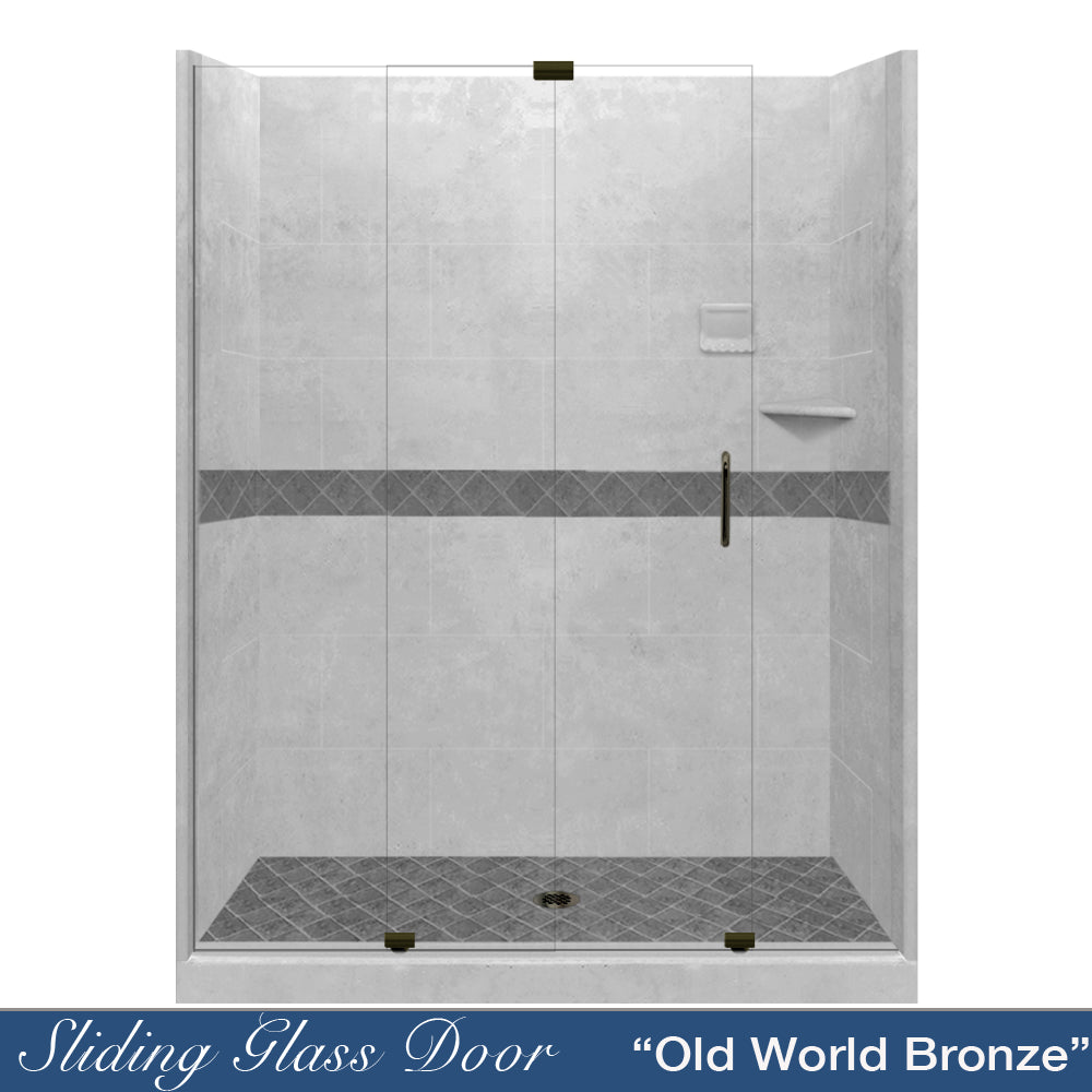 "Diamond Portland Cement 60"" Alcove Shower Kit  testing shower - American Bath Factory"