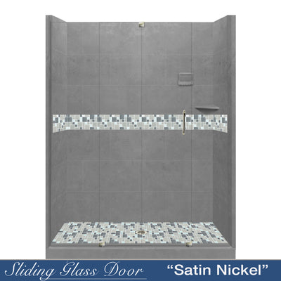 "Newport Mosaic Wet Cement 60"" Alcove Shower Kit  testing shower - American Bath Factory"