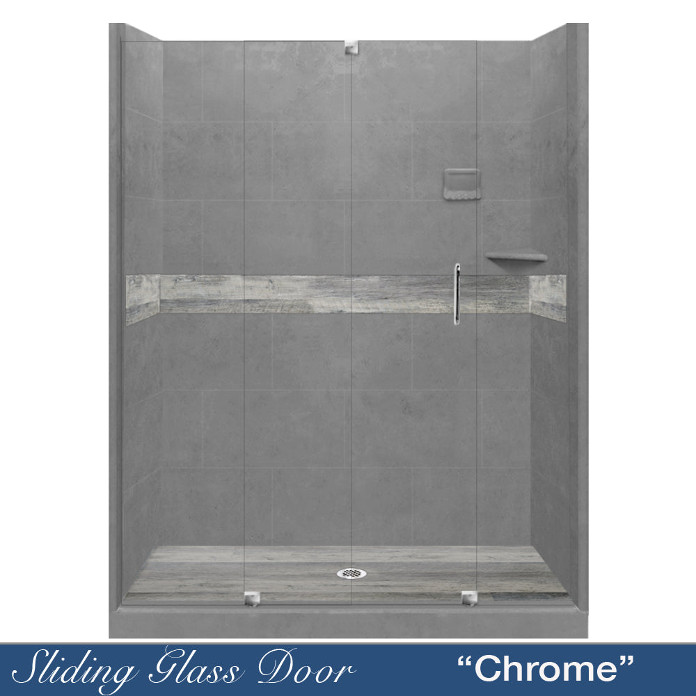 "Sterling Oak Wet Cement  60"" Alcove Shower Kit with FREE F92H-SP"