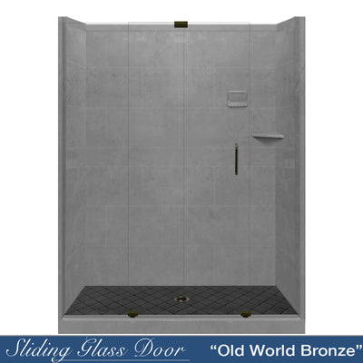 "Diamond Solid Wet Cement 60"" Alcove Shower Kit  testing shower - American Bath Factory"