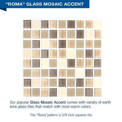 Roma Mosaic Brown Sugar Small Alcove Shower Kit