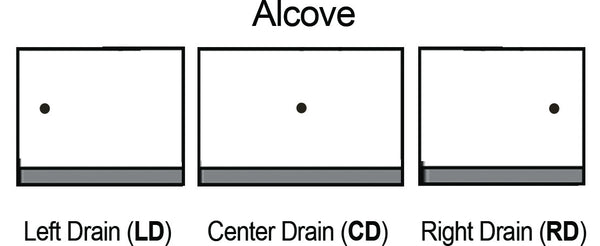 American Bath Factory Alcove Drain Locations