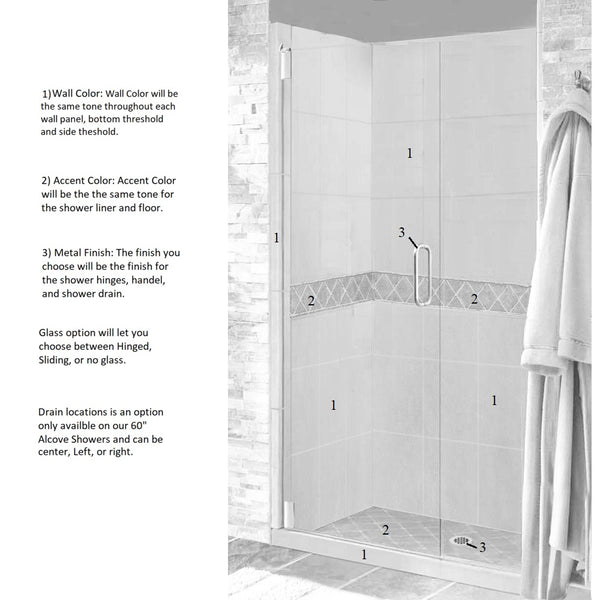 "Diamond 60"" Alcove Shower Kit Style & Color Options - American Bath Factory"