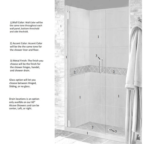 "Diamond 60"" Alcove Shower Kit Style & Color Options  Shower Kit - American Bath Factory"