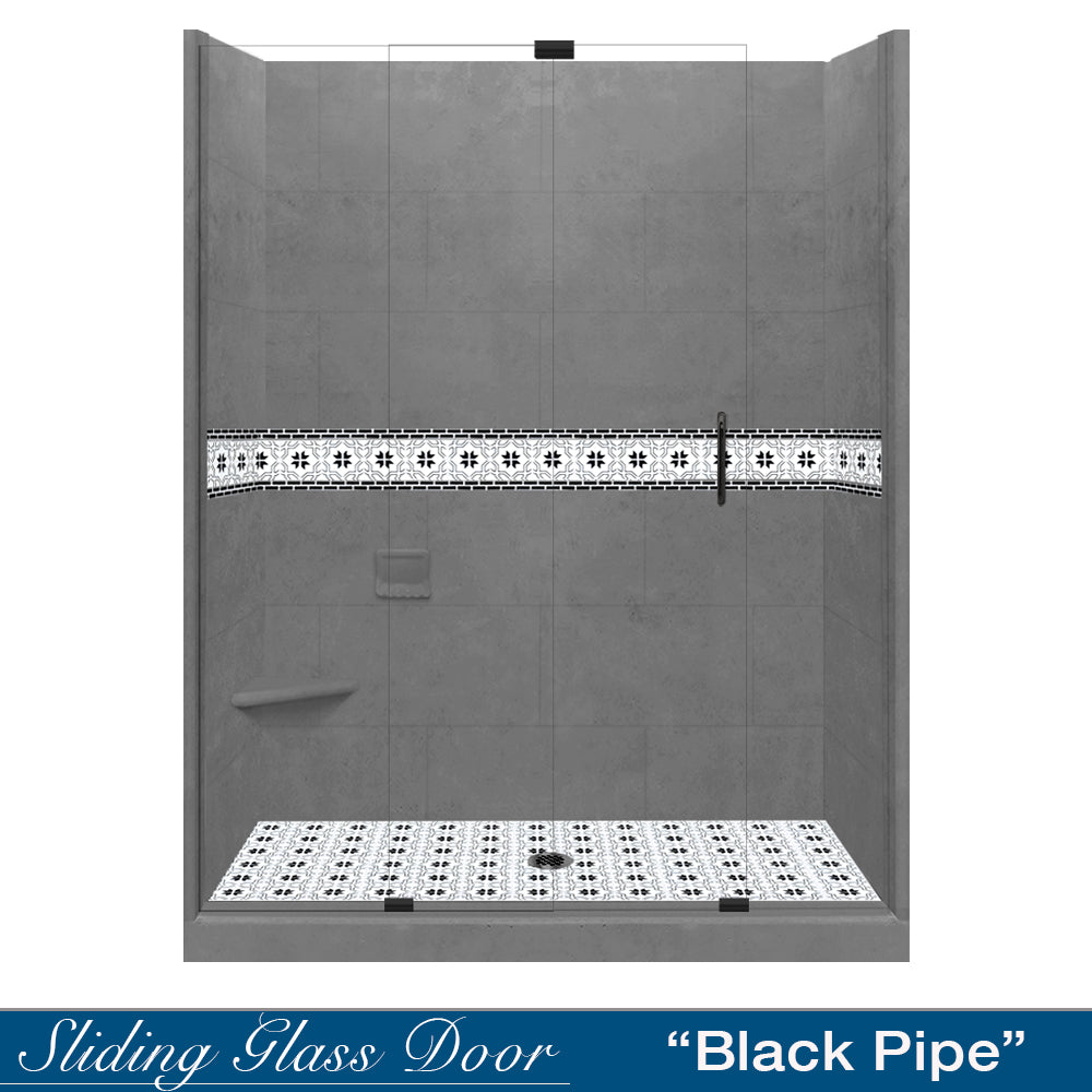"Star Mosaic Wet Cement 60"" Alcove Shower Kit"