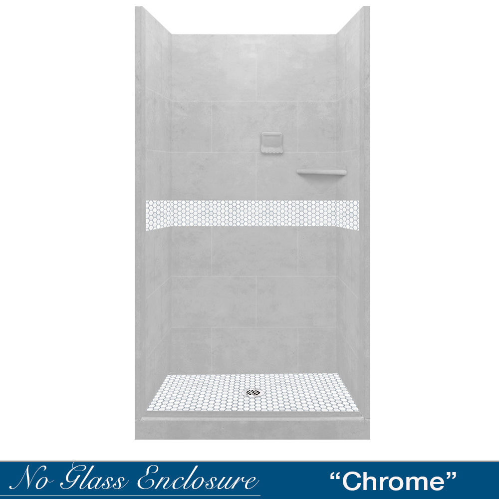 Pearl Hex Mosaic Portland Cement Small Alcove Shower Kit