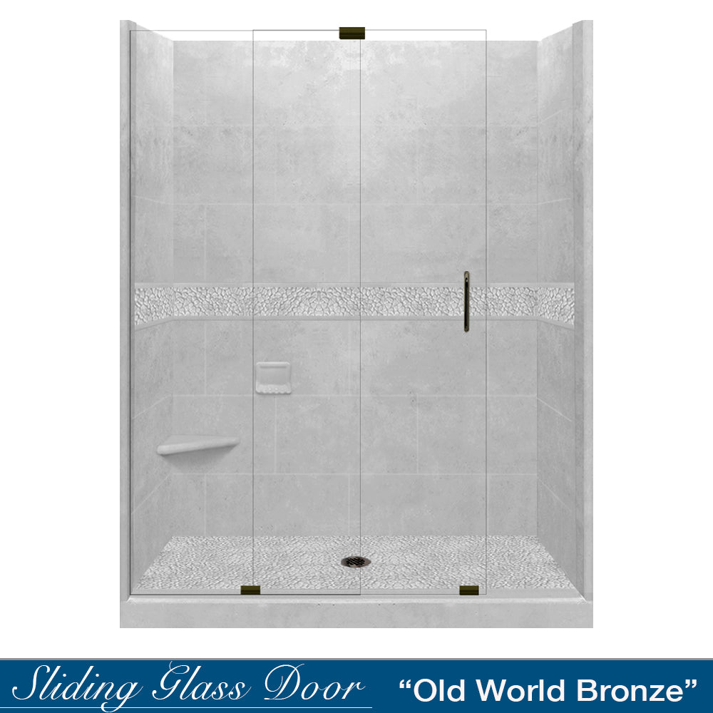 "Pebble Portland Cement 60"" Alcove Shower Kit"
