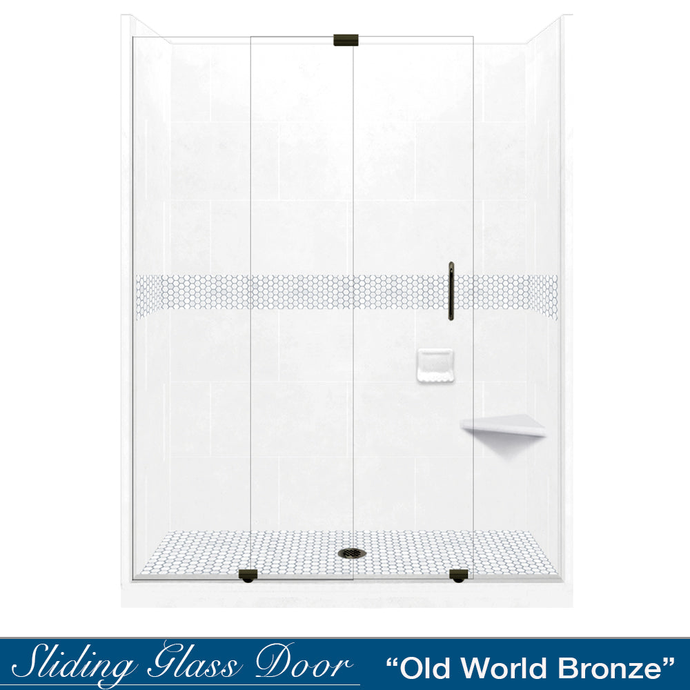 "Pearl Hex Mosaic Natural Buff 60"" Alcove Shower Kit"