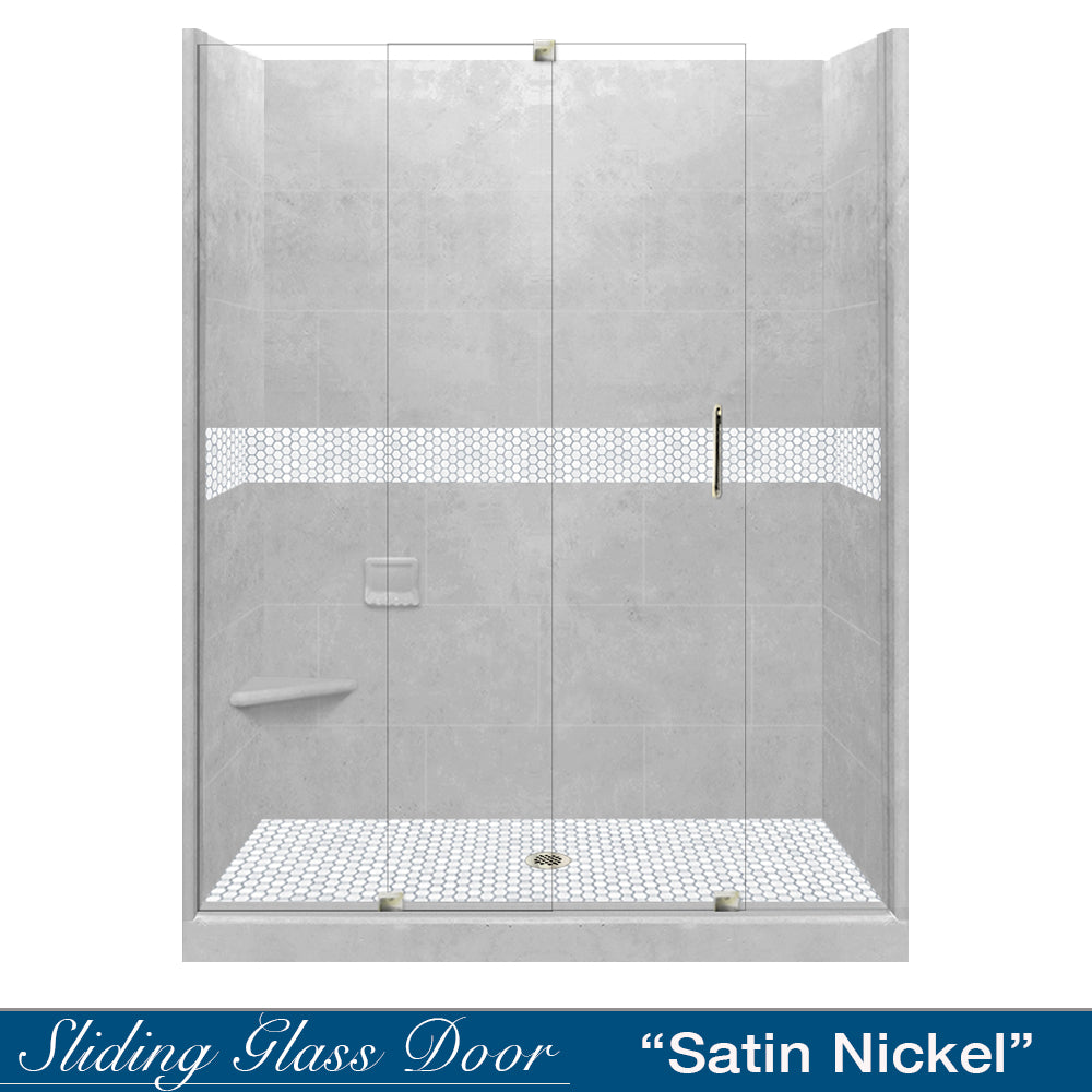"Pearl Hex Portland Cement 60"" Alcove Shower Kit"