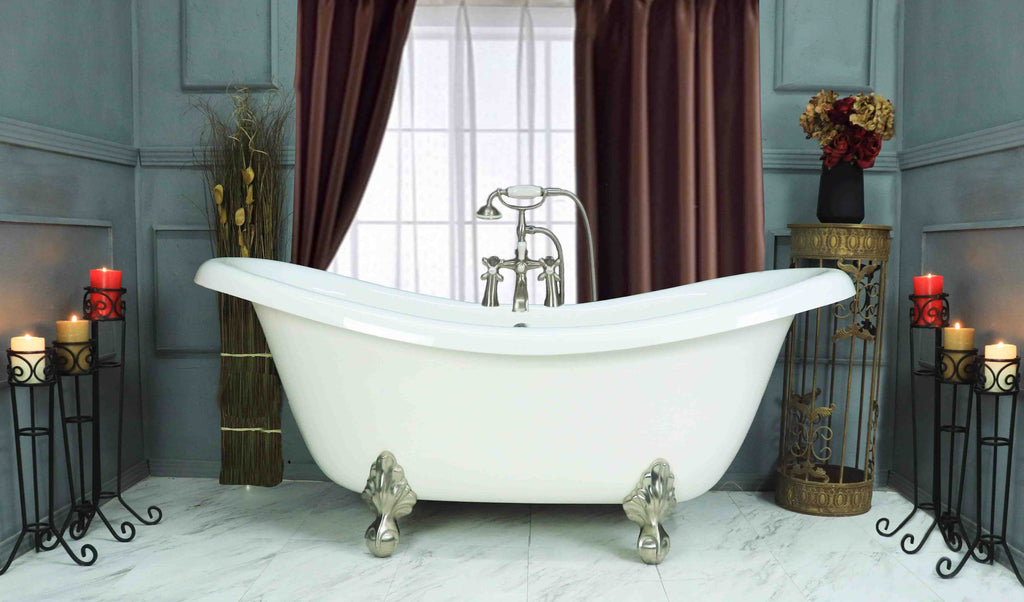 "67"" Double Slipper Clawfoot Bathtub"