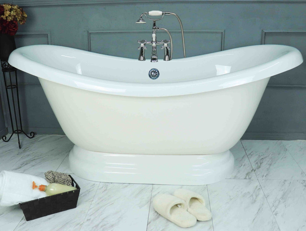 "67"" Double Slipper Pedestal Bathtub  Bathtub - American Bath Factory"
