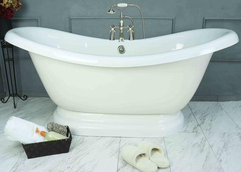 "67"" Double Slipper Pedestal Bathtub - American Bath Factory"